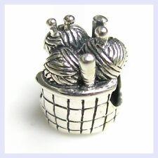 Sterling Silver Knitting Wool Balls In Basket Bead for European Charm Bracelet