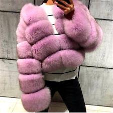 10 COLORS Women 100% Real Genuine Whole Skin Fox Fur Coat Jacket Short Overcoat
