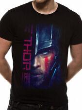 THOR RAGNAROK HEMSWORTH faccia Script Hulk Loki Marvel Nero Con Licenza Da Uomo T-shirt