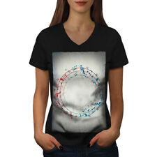 Notes Spiral Art Music Women V-Neck T-shirt NEW | Wellcoda