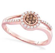 Chocolate Brown & White Diamond Ring 10K Rose Gold .25ct Cluster Ring Size 5 - 9