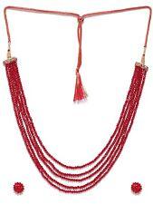 Bollywood Fashion Jewelry Beaded 5 Line String Mala Style Necklace Set Jewelry