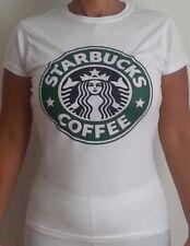 STARBUCKS COFFE t-shirt maglietta donna bianca collo tondo - brand new