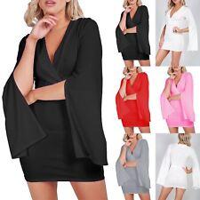 7ba6c76f2126d Ladies Womens V Neck Wrap Over Cross Split Cape Long Sleeve Mini Bodycon  Dress