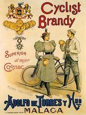 COGNAC BICYCLE CYCLIST BRANDY MALACA SPAIN VINTAGE POSTER REPRO