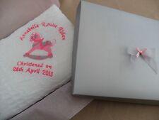 Personalised embroidered babys christening/birth shawl /bib  rocking horse
