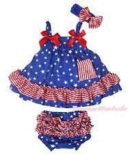 4th July Patriotic Blue Star Striped Baby Girls Elegant Swing Top Bloomer NB-2Y