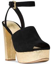 MICHAEL Michael Kors Trina Platform Dress Sandals  Black Suede & Gold Sz 8.5 & 9