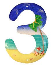 Tropical Beach House Numbers Haitian Metal Art Number 3