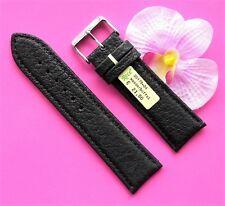 Uhrenarmband Leder 24mm echt Wasserbüffel schwarz 24/22 Dornschließe Rece