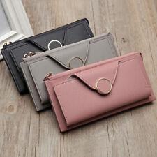 Women Fashion Bifold Long Wallet Zipper Purse Card Holder Strap Clutch Showy