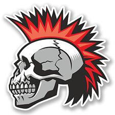 2 x Mohawk Skull Vinyl Sticker Decal iPad Laptop Car Bike Punk Rock Cool #4786