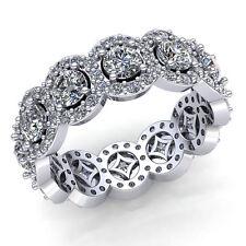 Natural 2ct Round Diamond Ladies Solitaire Halo Wedding Eternity Band 18K Gold