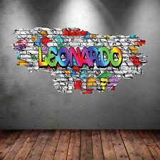 Personnalisé multi couleur graffiti brick wall art stickers autocollants murales WSD110