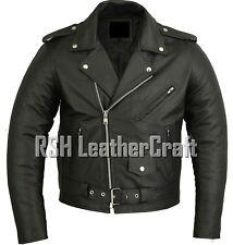 Classic Marlon Brando Biker Motorcycle Black Real Leather Jacket