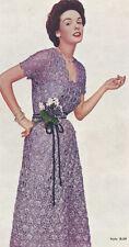 Vintage Crochet PATTERN to make Formal Daisy Knitter Ribbon Dress 1950s PurpleDa