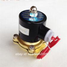 "1/4"" 3/8"" 1/2"" 1'' BSP 12V/24V/220V Electric Solenoid Valve Brass NC f Water Air"