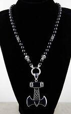 Halskette Onyx Edelstahl Anhänger Skull Totenkopf Kette Handmade  Thor Hammer