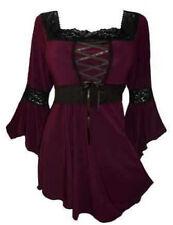 Women Plus Size Bat Sleeves Blouse Gothic Victorian Renaissance Lace Up Shirt