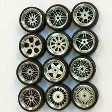 1/64 Scale Alloy Wheels Custom Hot Wheels for Matchbox Tomy Rubber Tires NE V7H3