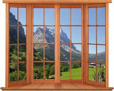 Sticker fenêtre trompe l'oeil Montagne