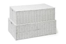 Storage Basket Chest Under Bed White Resin Woven Trunk Basket Large or Medium