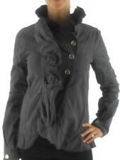 Manila Grace Jacke Jacket Rouche grau Knopfleiste Italy tailliert