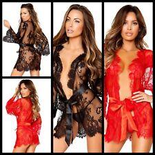 NUOVA linea donna Sexy Lusso Pizzo Robe Vestaglia a Kimono Lingerie Taglia XL/14 UK