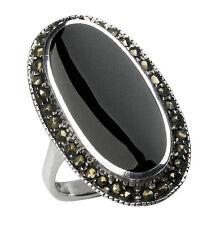 925 ECHT SILBER *** Onyx - Markasit Ring, Größenauswahl
