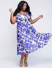 LANE BRYANT Dress Plaid Chiffon Fit & Flare 18 20 22 Blue/White 2x 3x