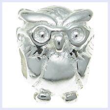 Sterling Silver Wise Owl Bird Scholar Teacher Bead for European Charm Bracelet