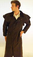 New English Brown Long Stockman Wax Riding Jacket Coat XS S M L XL XXL XXXL