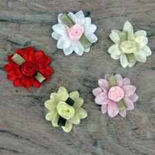 5 ou 25 double MARGUERITE ROUGE ROSE BLANC & vert feuille satin ruban nœuds de