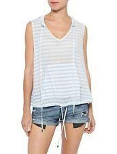Zimmermann Locket Stripe Hoodie Top baby light Blue white sleeveless V neck NEW