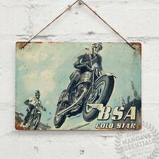BSA Motorcycles GOLD STAR Vintage Metal Wall sign RetroMancave Shed Garage Bike