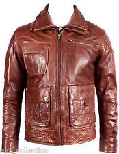 Men's Classic Biker Marrone Lavaggio Cera Morbido Napa vera pelle doppia zip Giacca
