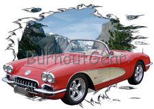 1959 Red Chevy Corvette b Custom Hot Rod Mountain T-Shirt 59 Muscle Car Tees