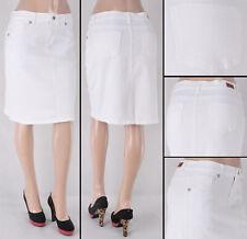 NWT Stretch Denim Twill White Basic Mid Skirt,size S to L - #SG-76355