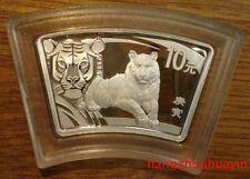 2010 China lunar animal 1oz fan shape tiger coin with COA,original box
