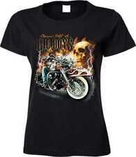 camiseta en negro con un Moto motivo bike & chopper Modelo Grande Niño Calavera
