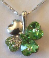Collar De Cristal Verde Trébol de Cuatro Hojas De Trébol Irlandés Irlanda plata oro de 4
