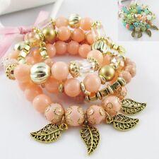4pc Layered Boho Beaded Leaf Charm Stretch Bracelet set Select Peach or Pastels