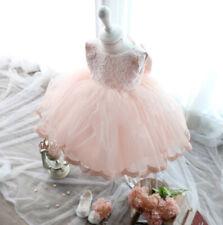 (BM09 Flamingorosa) Taufkleid Festkleid Blumenmädchen Tüll Gr.62 68 74 80 86