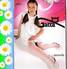 Glänzende Mädchen Strumpfhose creme Kommunion Satin-Naht Glanz Gatta Gr 116-158