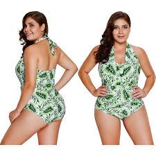 Green leaf print halterneck one piece swimsuit swimming pool women swimwear