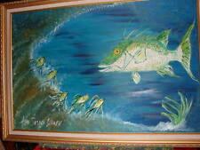 HUGE ORIGINAL OIL PAINTING HOG FISH WITH FRAME BOLD SUSHI ANN SUSAN ELMER