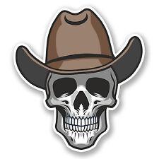 2 X cráneo de vaquero pegatina de vinilo calcomanía Ipad Laptop Auto Casco Para Bicicleta Skate divertido # 4794