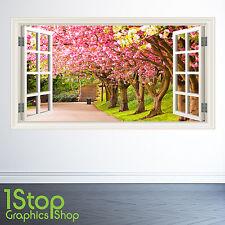 été jardin autocollant mural Fenêtre Couleur complète - chambre salon nature