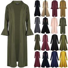 New Womens Bell Ruffle Frill Long Sleeves Ladies Coat Crepe Floaty Maxi Cardigan