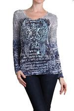 New Gray Angel Wing Faith Tattoo Rhinestone Burnout TShirt Top Sweater